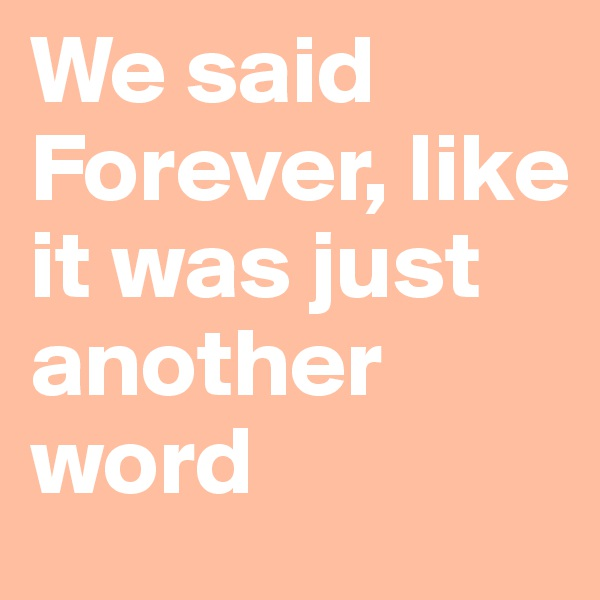We said Forever, like it was just another word