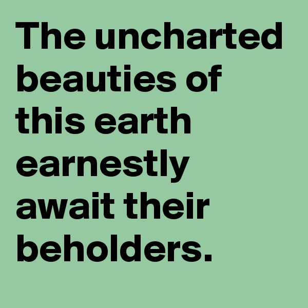 The uncharted beauties of this earth earnestly await their beholders.