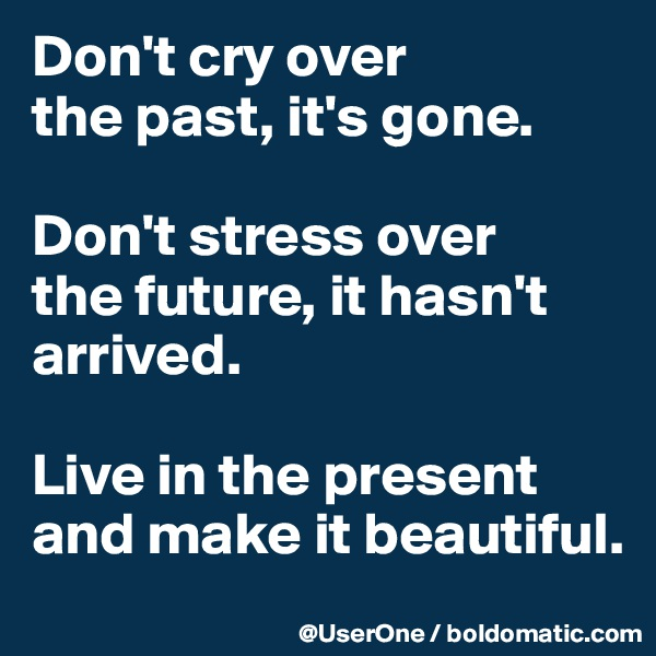Don't cry over the past, it's gone.  Don't stress over the future, it hasn't arrived.  Live in the present and make it beautiful.