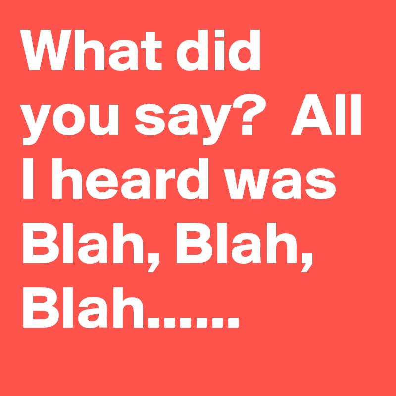 What did you say?  All I heard was Blah, Blah, Blah......