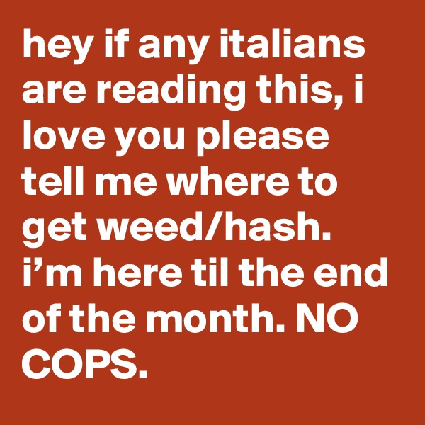 hey if any italians are reading this, i love you please tell me where to get weed/hash. i'm here til the end of the month. NO COPS.