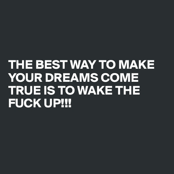 THE BEST WAY TO MAKE YOUR DREAMS COME TRUE IS TO WAKE THE FUCK UP!!!