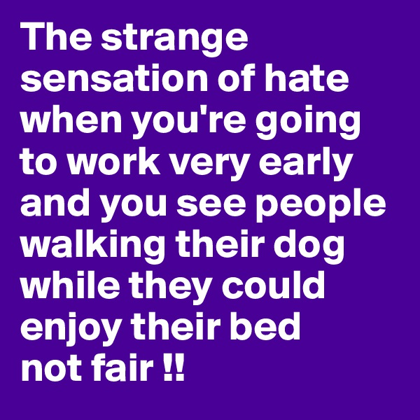 The strange sensation of hate when you're going to work very early and you see people walking their dog while they could enjoy their bed not fair !!