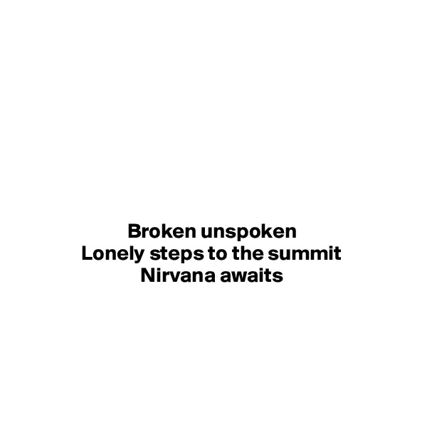 Broken unspoken Lonely steps to the summit Nirvana awaits