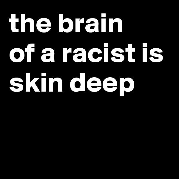 the brain  of a racist is skin deep