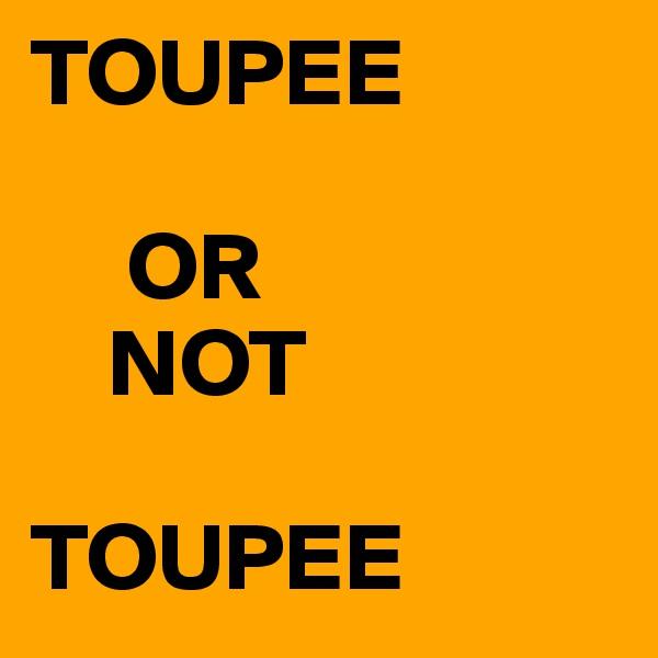 TOUPEE       OR      NOT  TOUPEE