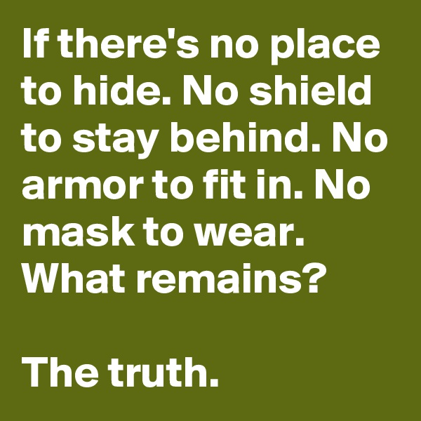 If there's no place to hide. No shield to stay behind. No armor to fit in. No mask to wear. What remains?   The truth.