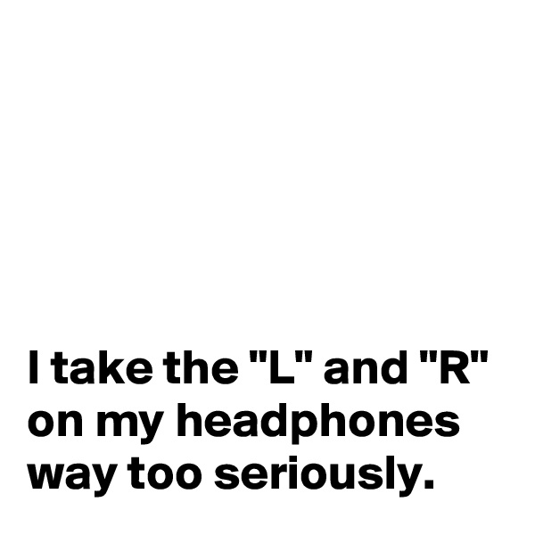 "I take the ""L"" and ""R"" on my headphones way too seriously."