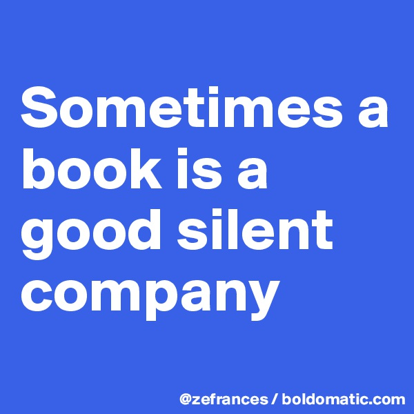 Sometimes a book is a good silent company