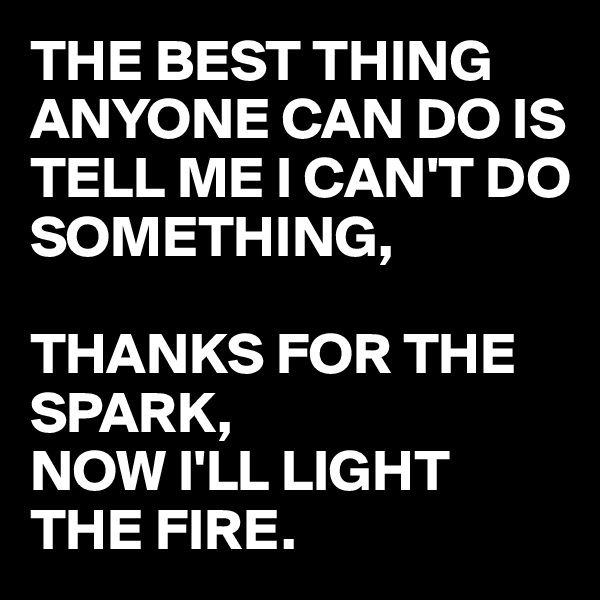 THE BEST THING ANYONE CAN DO IS TELL ME I CAN'T DO SOMETHING,   THANKS FOR THE SPARK, NOW I'LL LIGHT THE FIRE.