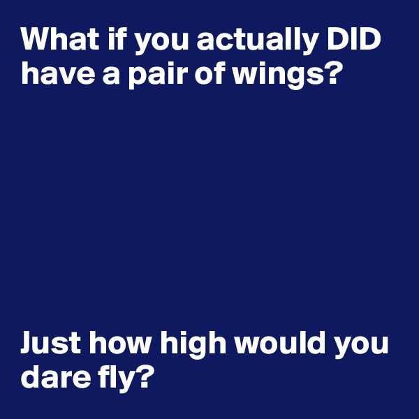 What if you actually DID have a pair of wings?        Just how high would you dare fly?