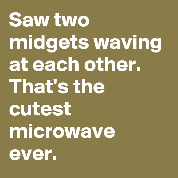 Saw two midgets waving at each other.  That's the cutest microwave ever.