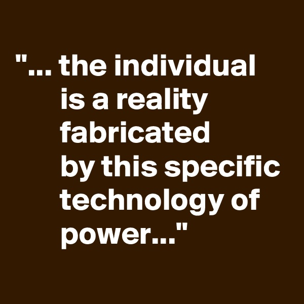 """""""... the individual         is a reality                   fabricated         by this specific        technology of           power..."""""""