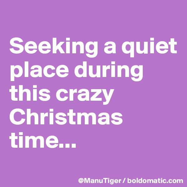 Seeking a quiet place during this crazy Christmas time...