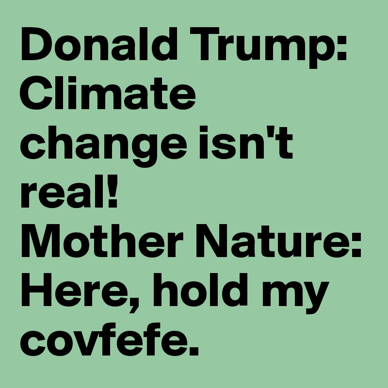 Donald Trump: Climate change isn't real! Mother Nature: Here, hold my covfefe.