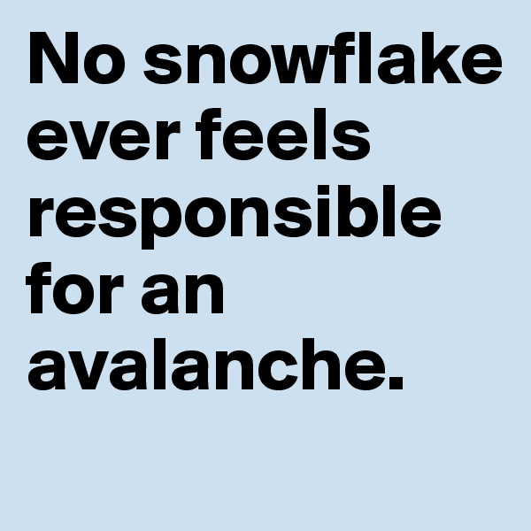 No snowflake ever feels responsible for an avalanche.