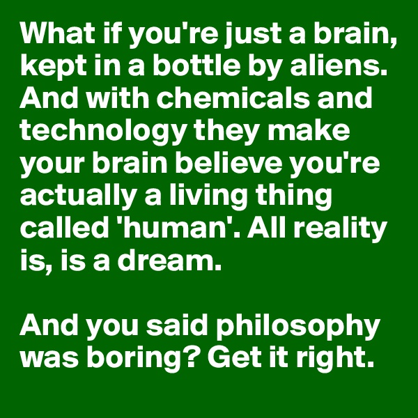 What if you're just a brain, kept in a bottle by aliens. And with chemicals and technology they make your brain believe you're actually a living thing called 'human'. All reality is, is a dream.  And you said philosophy was boring? Get it right.