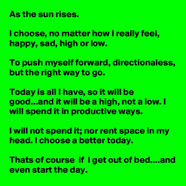 As the sun rises.  I choose, no matter how I really feel, happy, sad, high or low.  To push myself forward, directionaless, but the right way to go.  Today is all I have, so it will be good...and it will be a high, not a low. I will spend it in productive ways.  I will not spend it; nor rent space in my head. I choose a better today.  Thats of course  if  I get out of bed....and even start the day.