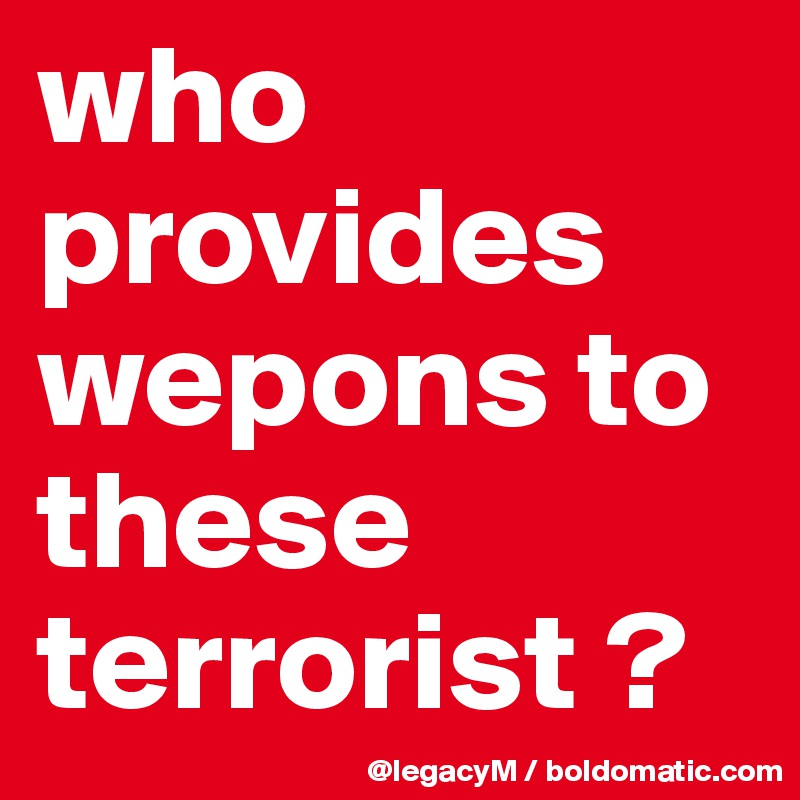 who provides wepons to these terrorist ?
