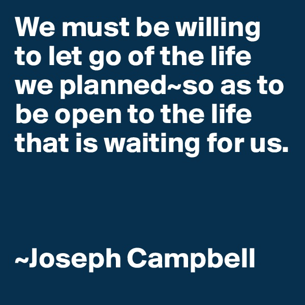 We must be willing to let go of the life we planned~so as to be open to the life that is waiting for us.    ~Joseph Campbell