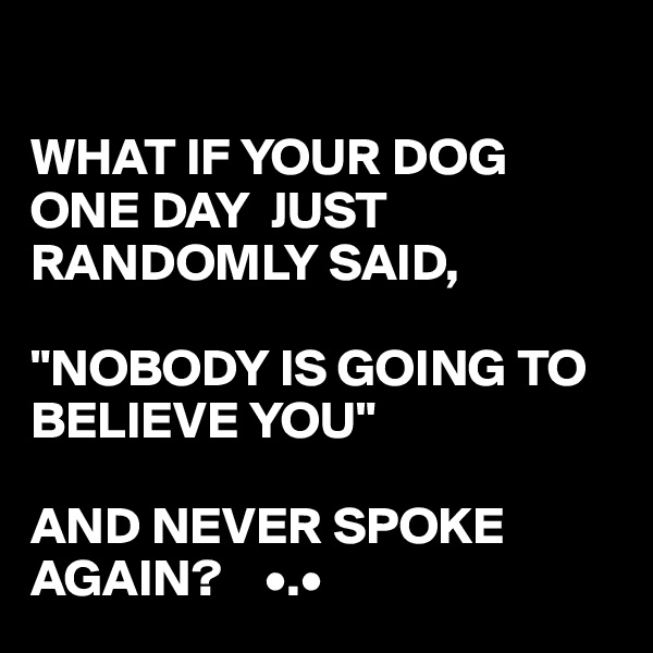 "WHAT IF YOUR DOG ONE DAY  JUST RANDOMLY SAID,  ""NOBODY IS GOING TO BELIEVE YOU""  AND NEVER SPOKE AGAIN?    •.•"