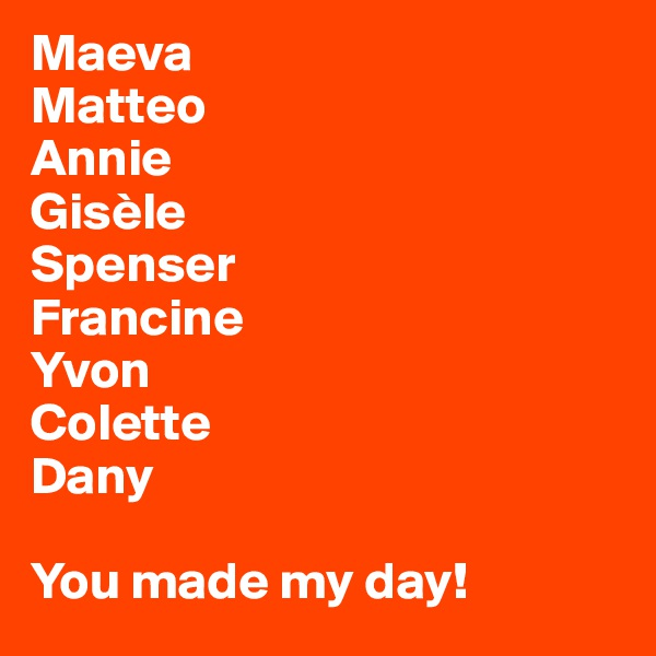 Maeva Matteo Annie Gisèle Spenser Francine Yvon Colette Dany  You made my day!