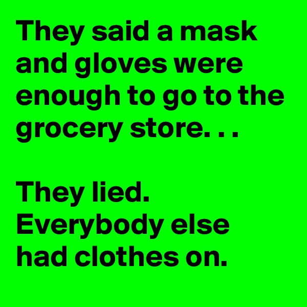 They said a mask and gloves were enough to go to the grocery store. . .  They lied. Everybody else had clothes on.