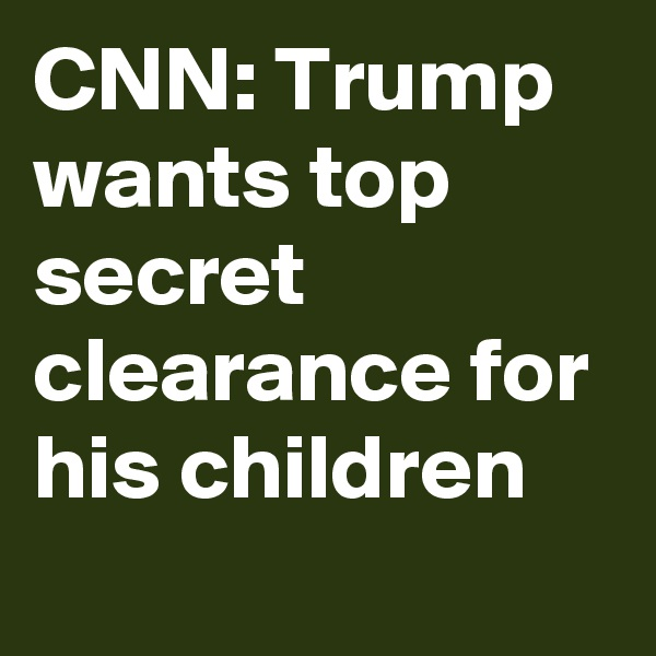 CNN: Trump wants top secret clearance for his children