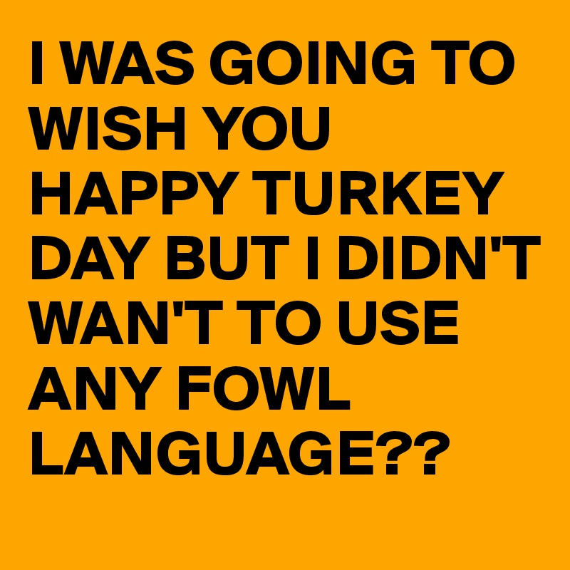 I WAS GOING TO WISH YOU HAPPY TURKEY DAY BUT I DIDN'T WAN'T TO USE ANY FOWL LANGUAGE??