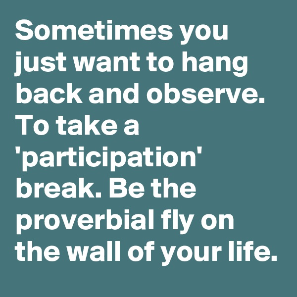 Sometimes you just want to hang back and observe. To take a 'participation' break. Be the proverbial fly on the wall of your life.