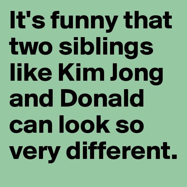 It's funny that two siblings like Kim Jong and Donald can look so very different.