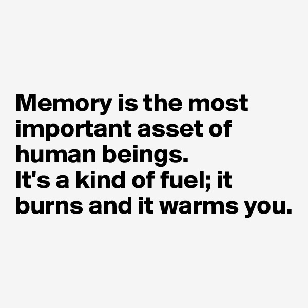 Memory is the most important asset of human beings.  It's a kind of fuel; it burns and it warms you.