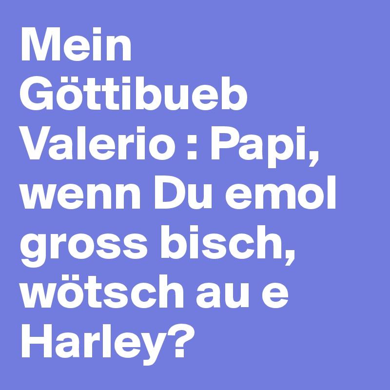 Mein Göttibueb  Valerio : Papi, wenn Du emol gross bisch, wötsch au e Harley?