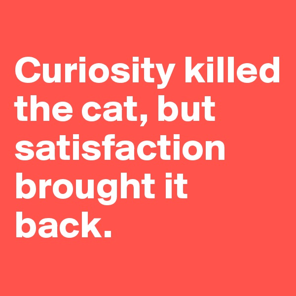 Curiosity killed the cat, but satisfaction brought it back.