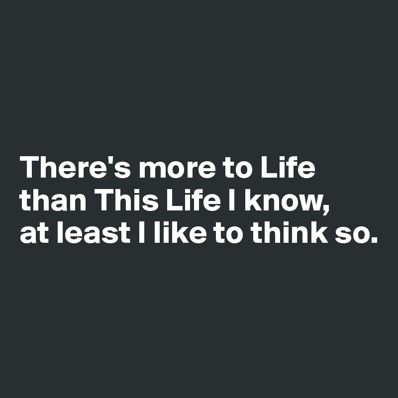There's more to Life than This Life I know,  at least I like to think so.