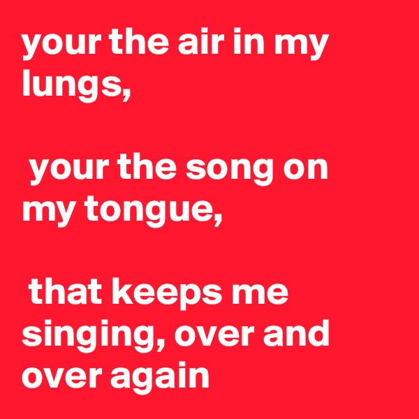 your the air in my lungs,   your the song on my tongue,   that keeps me singing, over and over again
