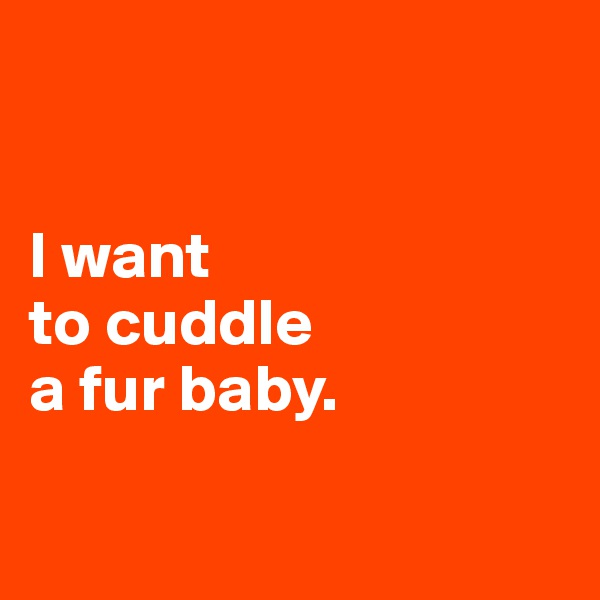 I want  to cuddle  a fur baby.