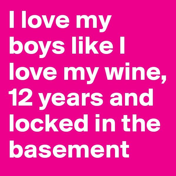I love my boys like I love my wine, 12 years and locked in the basement