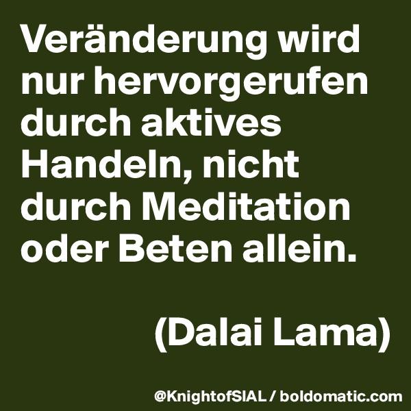 Veränderung wird nur hervorgerufen durch aktives Handeln, nicht durch Meditation oder Beten allein.                   (Dalai Lama)