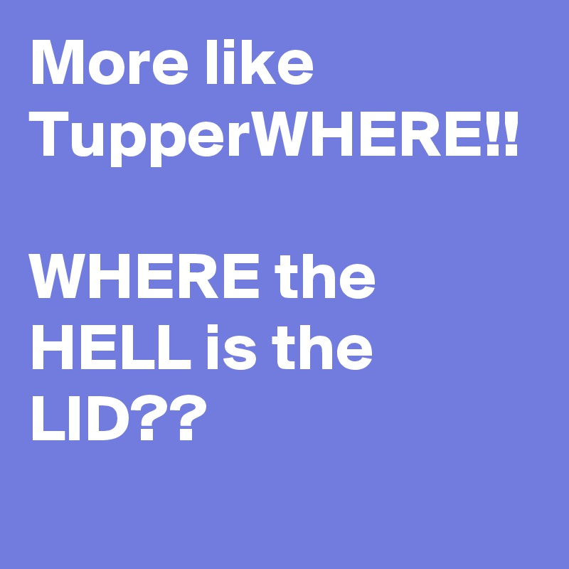 More like TupperWHERE!!  WHERE the HELL is the LID??