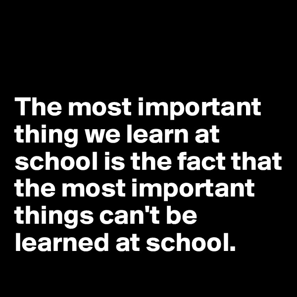 The most important thing we learn at school is the fact that the most important things can't be learned at school.