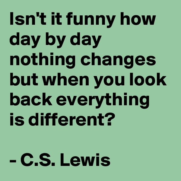 Isn't it funny how day by day nothing changes but when you look back everything is different?  - C.S. Lewis