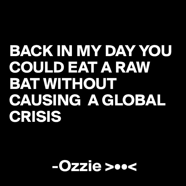 BACK IN MY DAY YOU COULD EAT A RAW BAT WITHOUT CAUSING  A GLOBAL CRISIS                -Ozzie >••<