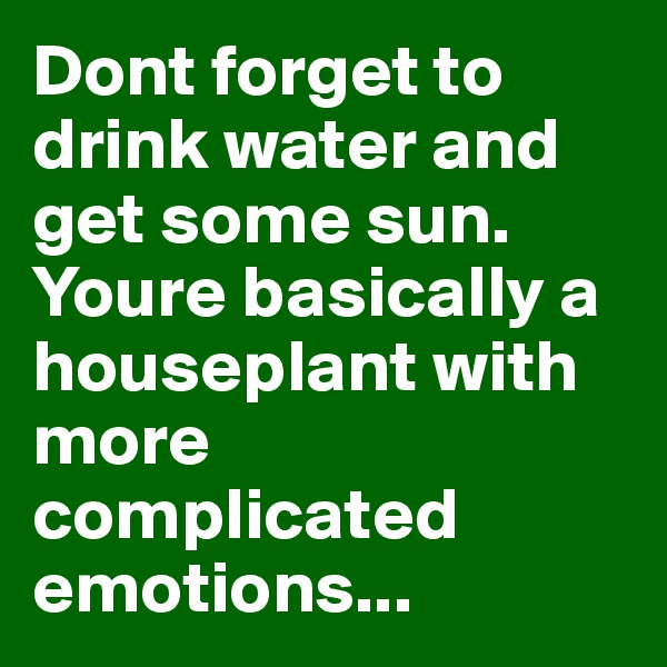 Dont forget to drink water and get some sun. Youre basically a houseplant with more complicated emotions...