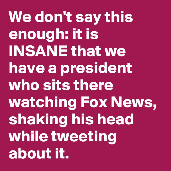 We don't say this enough: it is INSANE that we have a president who sits there watching Fox News, shaking his head while tweeting about it.