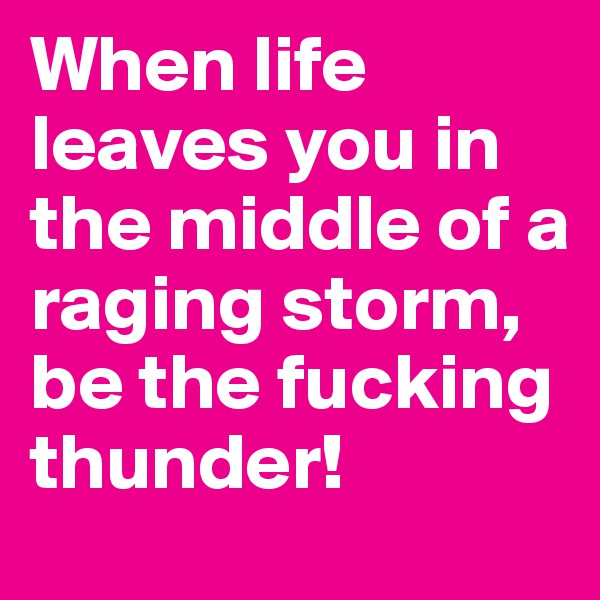 When life leaves you in the middle of a raging storm, be the fucking thunder!