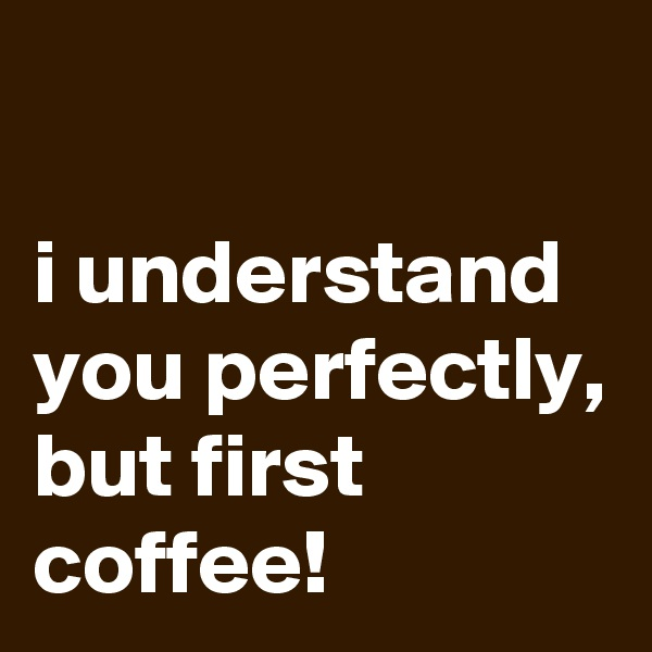 i understand you perfectly,  but first coffee!