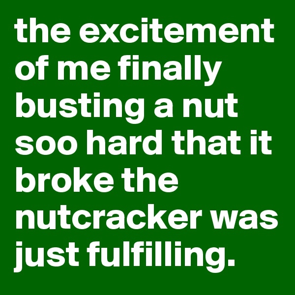 the excitement of me finally busting a nut soo hard that it broke the nutcracker was just fulfilling.