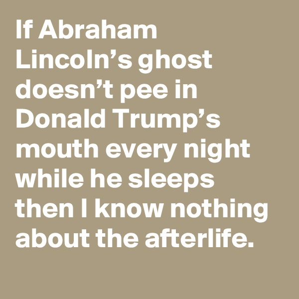 If Abraham Lincoln's ghost doesn't pee in Donald Trump's mouth every night while he sleeps then I know nothing about the afterlife.