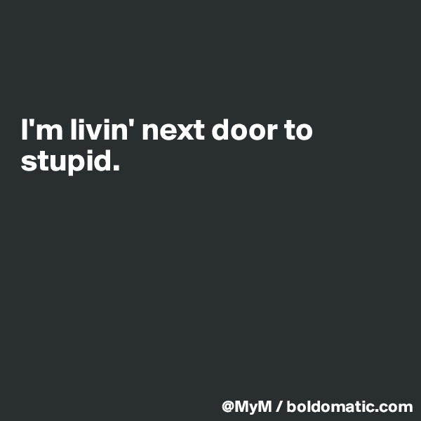 I'm livin' next door to stupid.